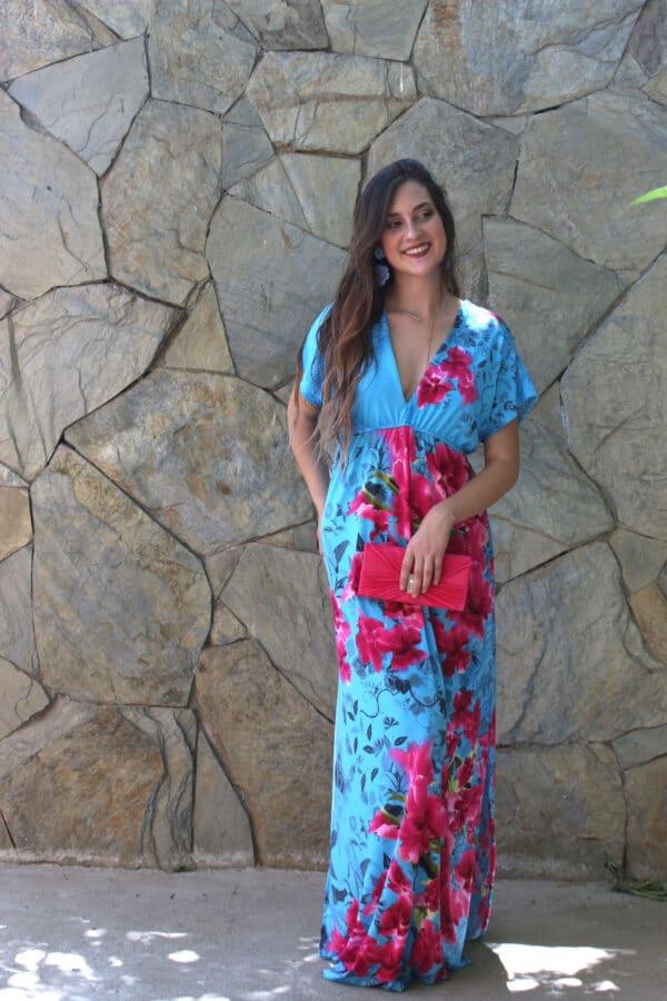 Maxi vestido Sevilla turquesa