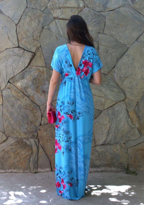 Maxi vestido Sevilla turquesa espalda