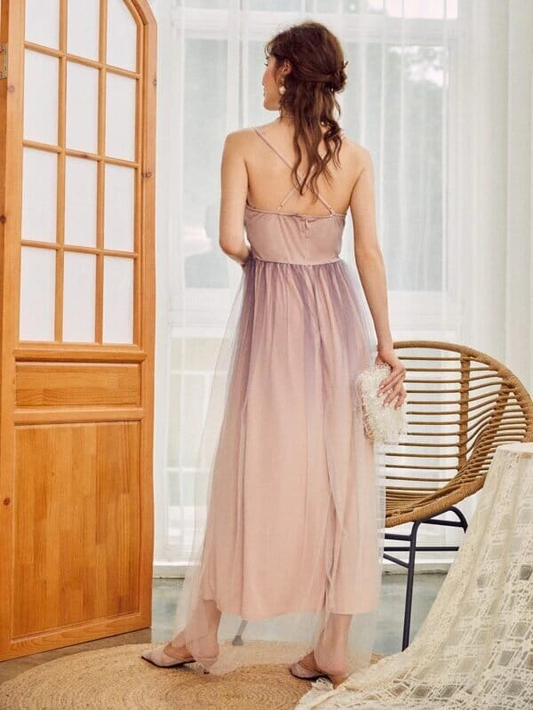 Maxi vestido rosa en degrade espalda