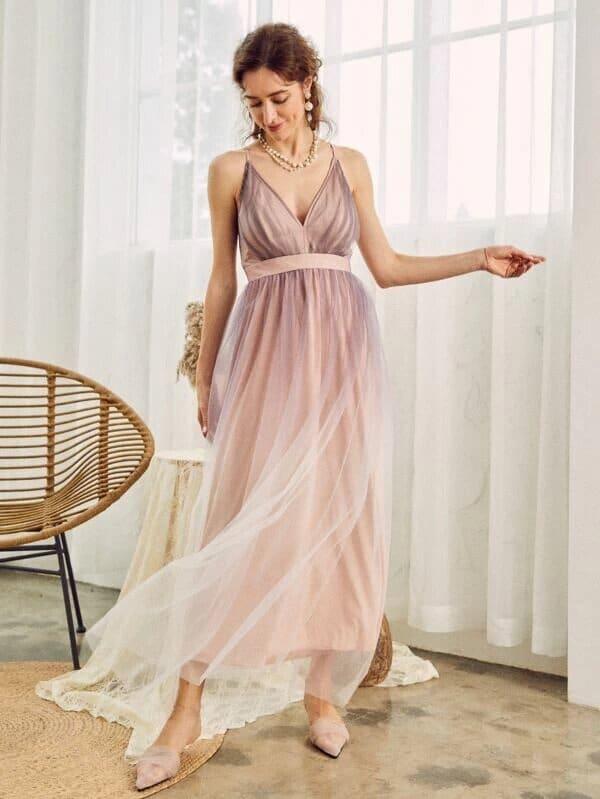 Maxi vestido rosa en degrade