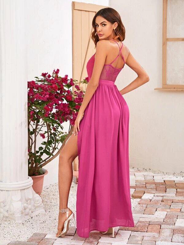 Vestido fucsia espalda 1
