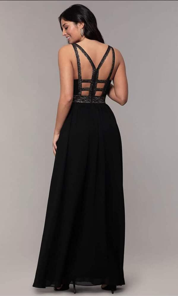 Vestido negro con tiras doradas espalda