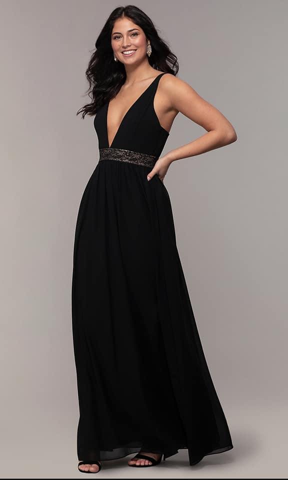Vestido negro con tiras doradas