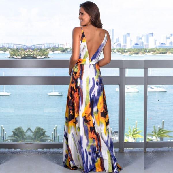 Vestido tropical azul espalda