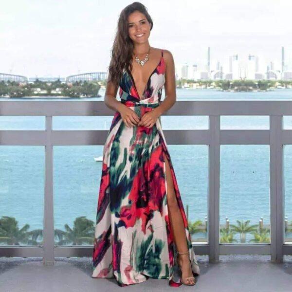Vestido tropical rojo