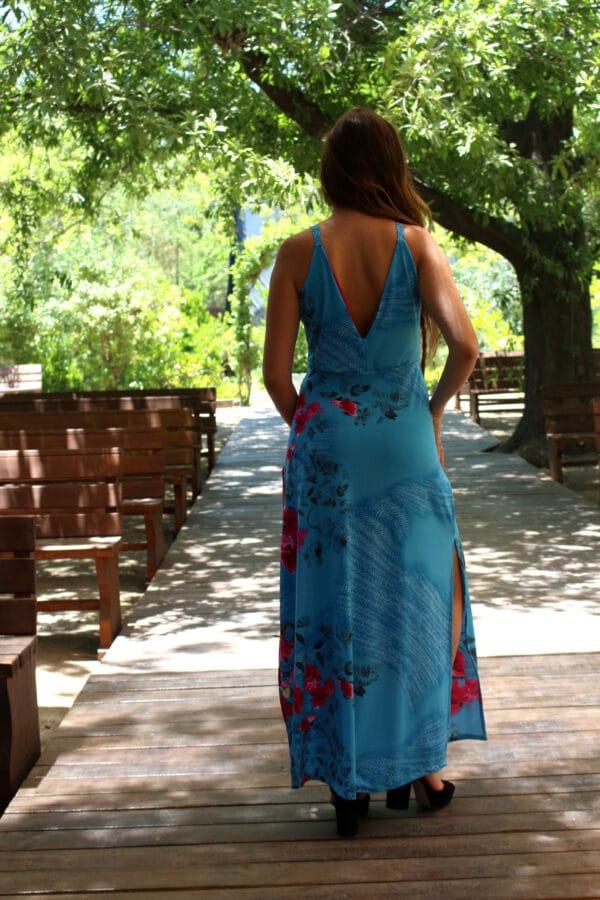 Vestido turquesa tiras espalda